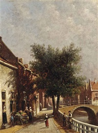 a sunlit canal with figures by a vegetable stall by pieter gerardus vertin