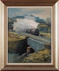 full steam ahead - a steam train crossing a bridge by alexander millar