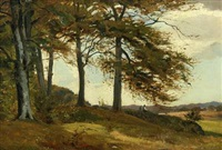 landscape with two persons sitting under a tree by hans ludvig smidth