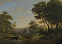 landscape with cattle by john glover