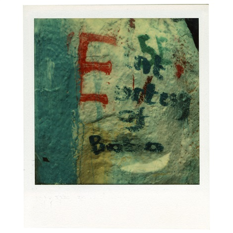detail of graffitied rock e oberlin ohio by walker evans
