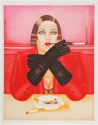smoking lady by shimon okshteyn