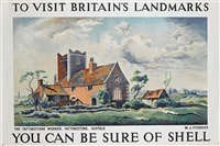 to visit britain's landmarks, the tattingstone wonder, suffolk, you can be sure of shell (poster by w.j. steggles) by posters: advertising - shell oil