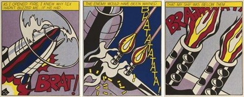 as i opened fire triptych by roy lichtenstein