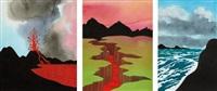 three works: (i) predicted eruption, 2004; (ii) the cut, 2004; (iii) windswept islands by ken price