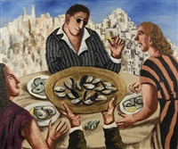 golden dish with mussels by natalia nesterova