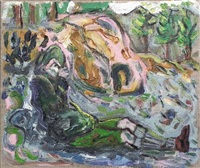 tea (high atlas) study - figure reclining in landscape by billy childish