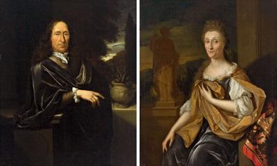 bildnis eines herrn bildnis einer dame pair by pieter van der werff