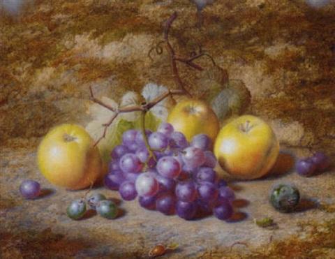 grapes apples and a plum on a mossy bank by charles archer