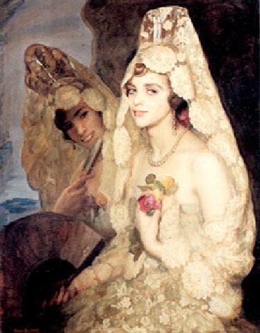 two elegant ladies holding fans by pedro antonio