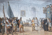 frontenac receiving sir william phips' envoy by william brymner