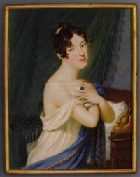 a young lady holding her gauze white dress and light blue cashmere stole with crossed hands to her breast, gold comb in her upswept and curled brown hair by carl de bourdon hummel