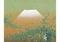 mt. fuji and autumn flower by tatsuya ishiodori