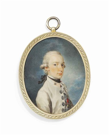 francis i 1768 1835 emperor of austria when archduke in white coat with red collar black stock and white lace jabot wearing the jewel of the order of the golden fleece by friedrich heinrich füger