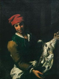 a young butcher, standing in an interior, holding a goat's leg by antonio mercurio amorosi