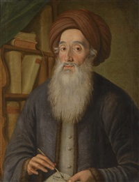 rabbi meir crescas wearing a grey jacket and a turban, holding a quill and open book, beside a bookshelf by f.w. güte