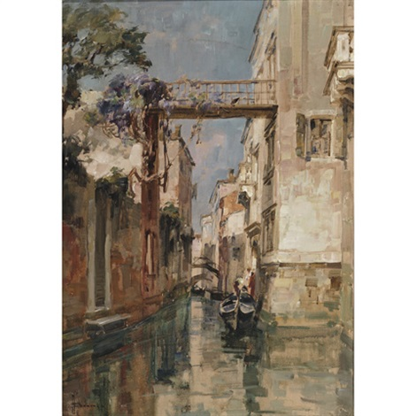 a shaded backwater on the venetian canal by angelo brombo