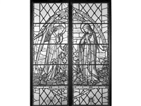 a pair of large stained glass cartoons depicting the annunciation by arthur e. buss (1905-1999) by goddard and gibbs
