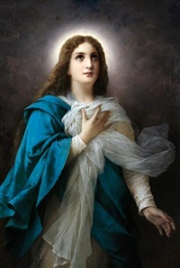 the virgin mary wearing a blue cloak by luigi crosio