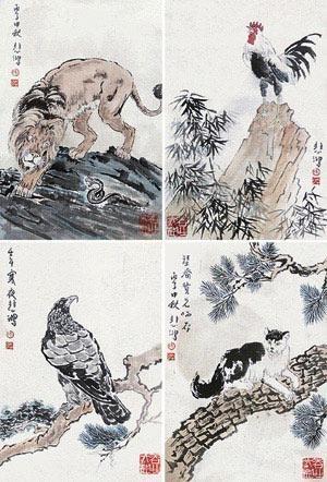 动物 (album of 8) by xu beihong