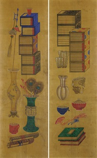 scholar's utensiles (2 works) by anonymous-korean
