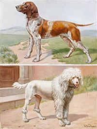 a german pointer in a landscape (+ a standard poodle by a doorway; 2 works) by theodor breitwieser