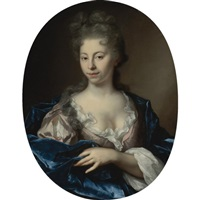 portrait of a lady, half length, wearing a pink dress with a blue wrap by arnold boonen