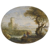 an italianate river landscape with two figures fishing by jan de momper