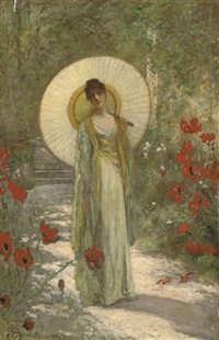 a young girl with a parasol in a summer garden by william john hennessy