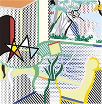 collage for interior with painting of bather by roy lichtenstein