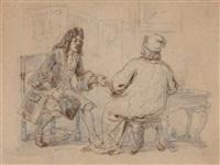 deux personnages en costume de l'époque de louis xiv dans un salon by jean ignace (isidore gérard) grandville
