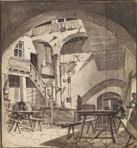 the courtyard of an italian house, perhaps a tavern by thomas wijck