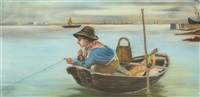 boy in fishing boat by charles courtney curran