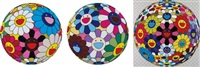 flower ball (algae ball); flower dumpling; and flower ball (kindergarten days) (3 works) by takashi murakami