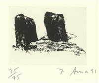 2 sheets: 10 and 6 (2 works from videy afangar series) by richard serra