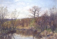 country landscape with coots on pond in the foreground by joseph langsdale pickering