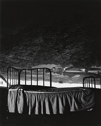 camera obscura image of umbrian landscape over bed by abelardo morell