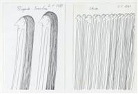 fliegende menschen, schuld, 2 zeichnungen by oswald tschirtner