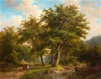 koeherder op landweg aan de bosrand by johann bernard klombeck