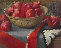 pomegranates with navajo basket and blanket by meredith brooks abbott