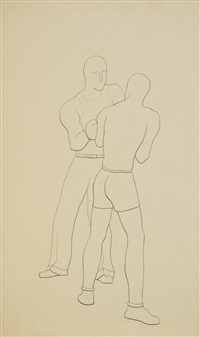 boxeurs, gymnaste (6 works) by michel tapié