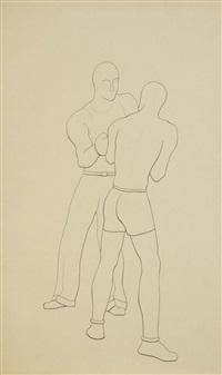 boxeurs, gymnaste (6 works) by michel tapié
