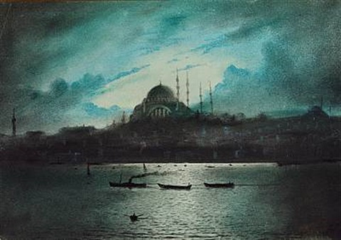 moonlight over hagia sophia in constantinople by a azarian