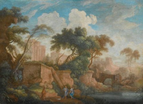 landscape with antique ruins and tobias and the angel in the foreground by pierre antoine patel