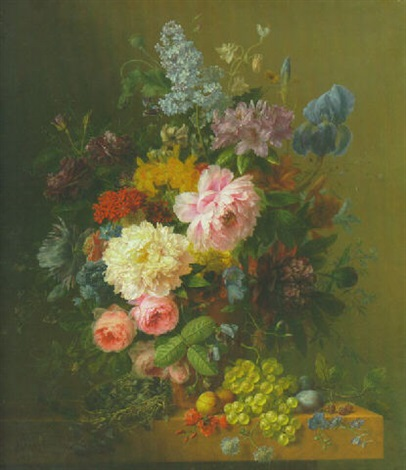 flowers in a vase on a ledge laden with fruit and a bird's nest by arnoldus bloemers