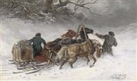 troika riders in a blizzard by iakov dmitrievich andreev