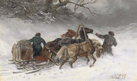 troika riders in a blizzard by iakov dmitrievich andreev
