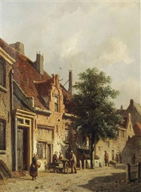 a sunlit street with figures by adrianus eversen