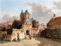stadsgezicht met figuren bij een poort by adrianus eversen