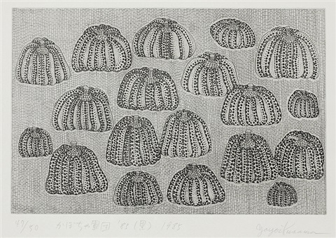 pumpkin army 85 black sold with 24bc set of 3 by yayoi kusama